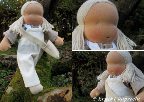 Puppe Blond Halblange Haare Latzhose5 1